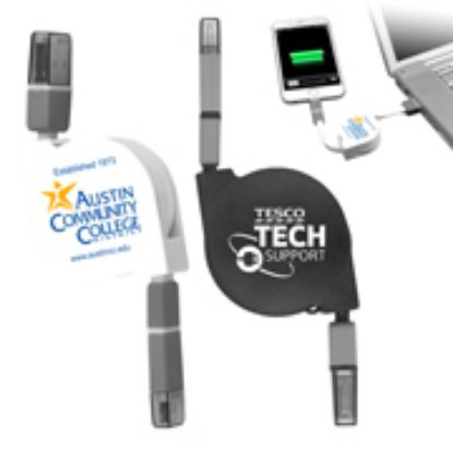 Picture of 2-in-1 MFi Lightning & Micro USB Tangle Free Retractable Charging Cable For Cell Phones and Tablets