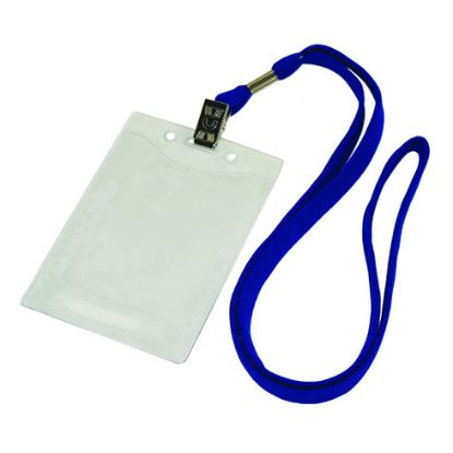 Picture of 3/8 Inch Flat Blank Lanyards With Badge Holder