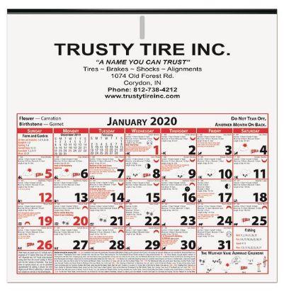 Picture of 6 Sheet Almanac Calendar (11 x 11 1/8) - 11 x 11-1/8 two sided Almanac calendar printed in black.