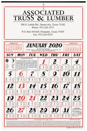 Picture of 7 Sheet Almanac Calendar (12 1/4 x 18 5/8) - 7 sheet two sided Almanac wall calendar