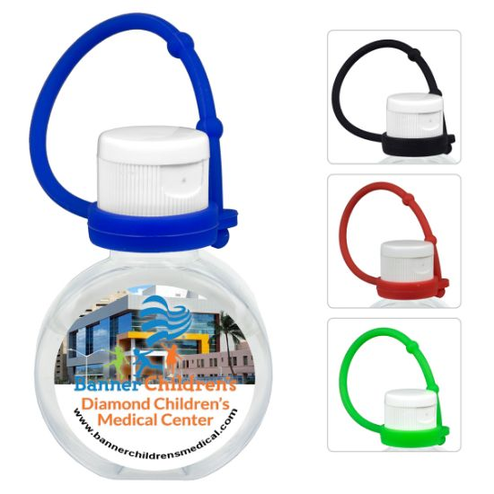 """Picture of """"CirPal Connect"""" 1 oz Compact Hand Sanitizer Antibacterial Gel in Round Flip-Top Squeeze Bottle with Colorful Silicone Leash"""