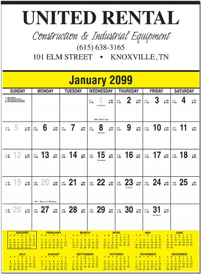 """Picture of Contractor Calendar - 18\"""" x 24.5\"""""""