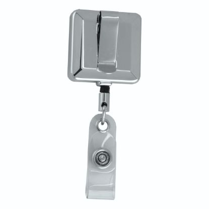 """Picture of \""""Hamilton Lz\"""" 32"""" Cord Square Chrome Solid Metal Retractable Badge Reel And Badge Holder With Laser Imprint"""