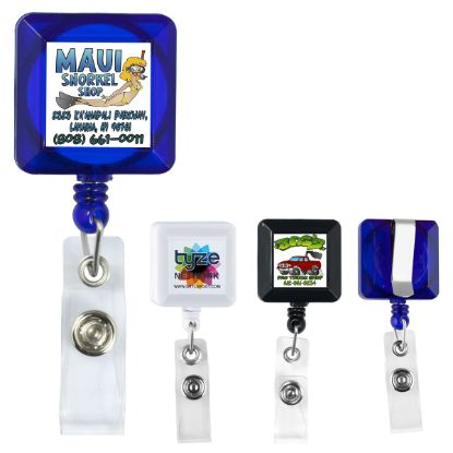 """Picture of Kent Vl\"""" 30"""" Cord Square Retractable Badge Reel And Badge Holder With Metal Slip Clip Attachment"""