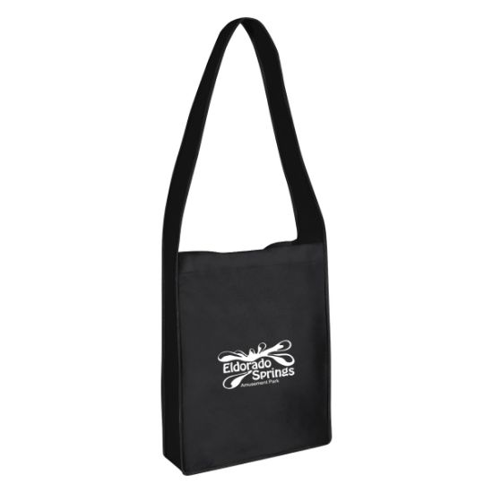 Picture of Non-woven Messenger Tote Bag With Hook And Loop Closure