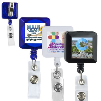 """Picture of Olmsted Vl\"""" 30"""" Cord Square Retractable Badge Reel And Badge Holder With Metal Rotating Alligator Clip Attachment"""